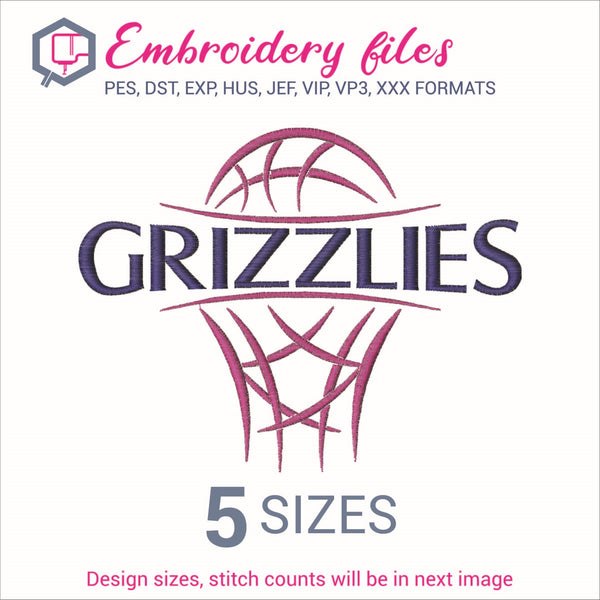 Grizzlies team Basketball Embroidery in DST, EXP, HUS, JEF, PCS, PES, SEW, VIP, VP3 & XXX - rhinestone templates