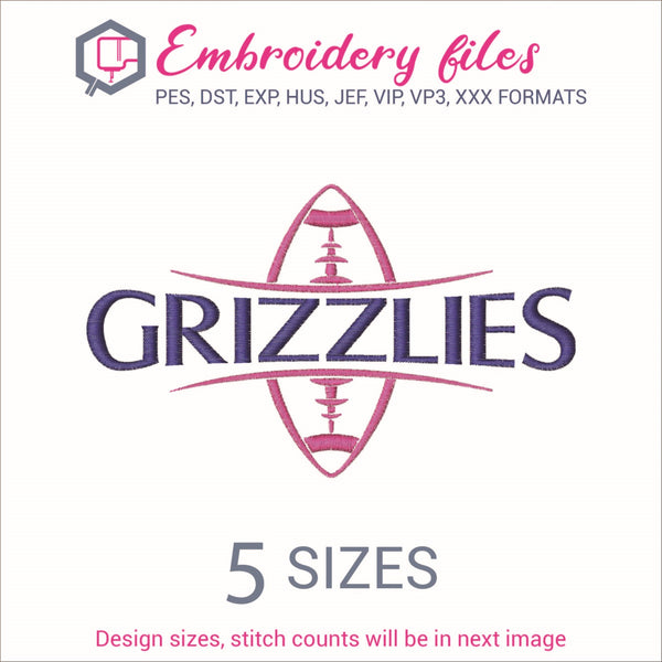 Grizzlies Football Ball Embroidery in DST, EXP, HUS, JEF, PCS, PES, SEW, VIP, VP3 & XXX - rhinestone templates