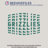 Grizzlies team name stacked 6 styles in svg, dxf, png, ai, eps format - rhinestone templates