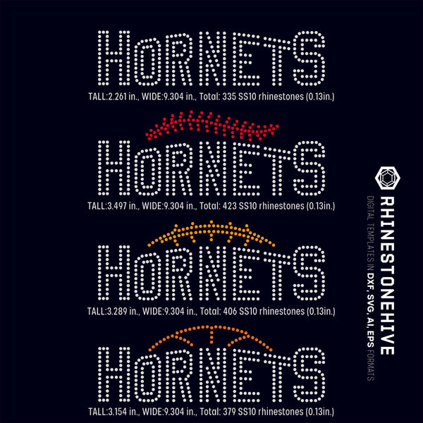 Hornets team baseball, football, basketball, sport digital rhinestone templates, ai, svg, eps, png, dxf - rhinestone templates