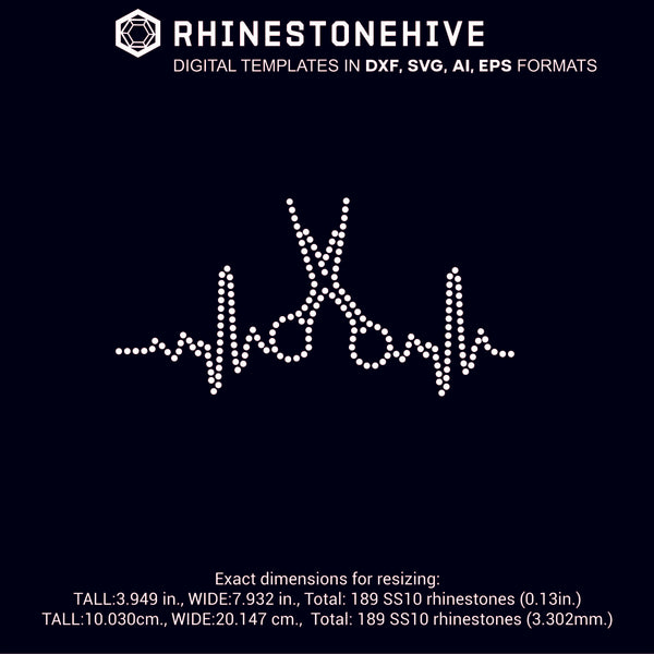 Hair stylist Heartbeat EKG rhinestone template digital download, ai, svg, eps, png, dxf - rhinestone templates
