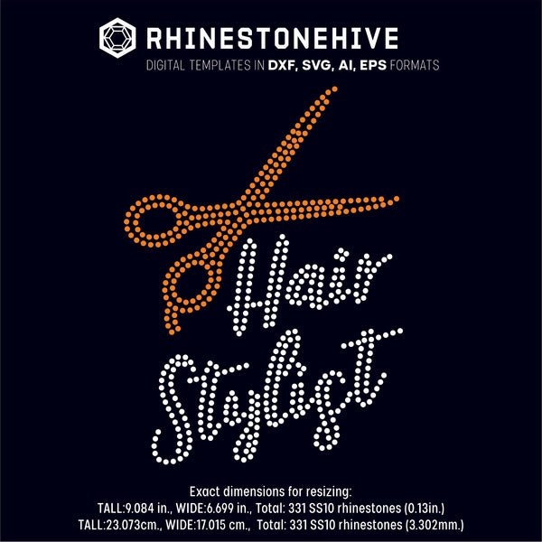 Hair stylist with scissors rhinestone template digital download, ai, svg, eps, png, dxf - rhinestone templates