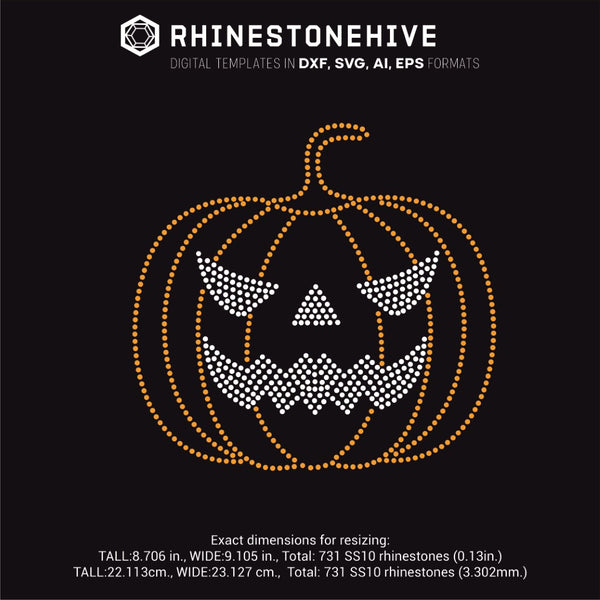 Halloween pumpkin face rhinestone template svg, eps, png, dxf - rhinestone templates