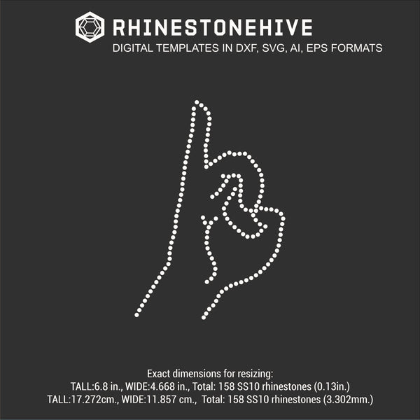 Hand gesture 1 rhinestone template digital download, ai, svg, eps, png, dxf - rhinestone templates