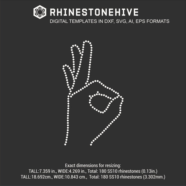 Hand gesture 3 rhinestone template digital download, ai, svg, eps, png, dxf - rhinestone templates