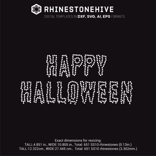 Happy Halloween rhinestone template svg, eps, png, dxf
