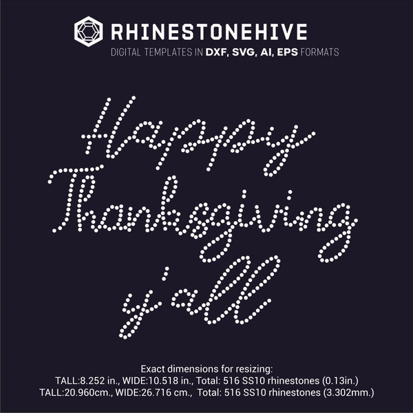 Happy Thanksgiving y'all r rhinestone template digital download, ai, svg, eps, png, dxf