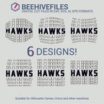 Hawks team name stacked outline 6 styles in svg, dxf, png, ai, eps format - rhinestone templates