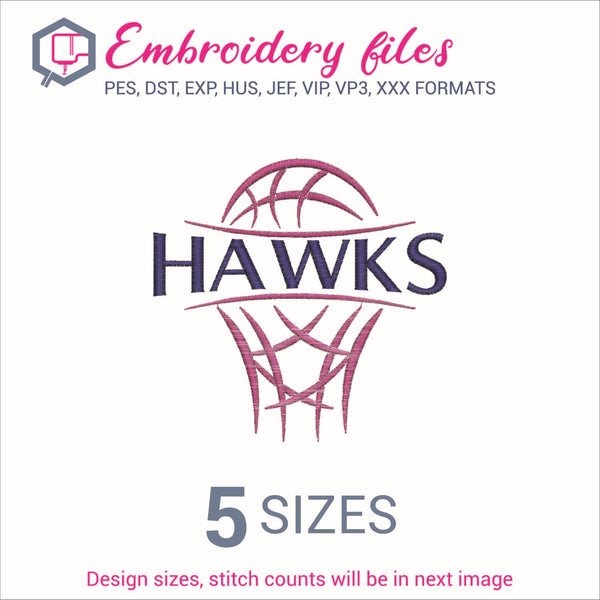 Hawks team Basketball Embroidery in DST, EXP, HUS, JEF, PCS, PES, SEW, VIP, VP3 & XXX - rhinestone templates