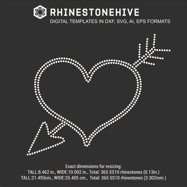 Heart crossed arrow rhinestone template digital download, svg, eps, ai, png, dxf - rhinestone templates