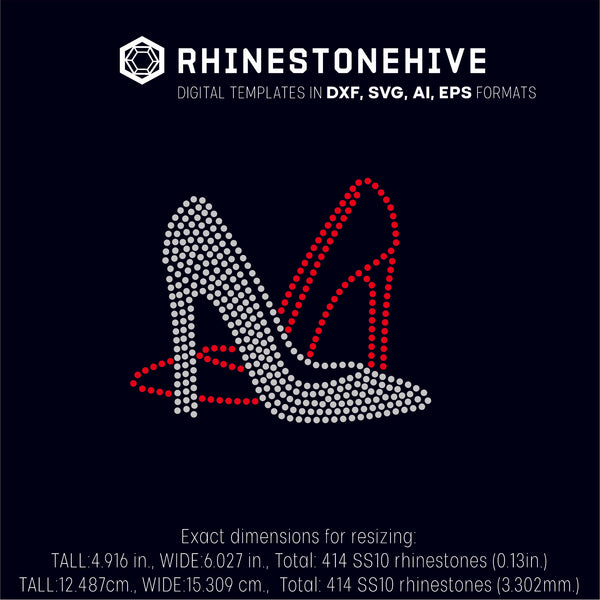 Pair High Heels rhinestone template digital download, ai, svg, eps, png, dxf SS10