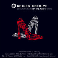 Pair of  High Heels filled rhinestone template digital download, ai, svg, eps, png, dxf - rhinestone templates