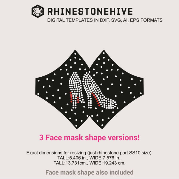 3 Face masks High heels rhinestone templates digital download, ai, svg, eps, png, dxf - rhinestone templates
