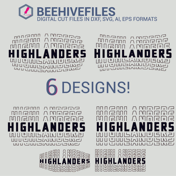 Highlanders team name stacked outline 6 styles in svg, dxf, png, ai, eps format - rhinestone templates