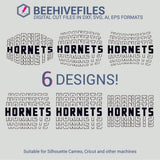 Hornets team name stacked outline 6 styles in svg, dxf, png, ai, eps format - rhinestone templates
