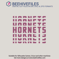 Hornets team name stacked 6 styles in svg, dxf, png, ai, eps format - rhinestone templates