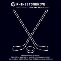 Ice hockey sticks and puck rhinestone template digital download, ai, svg, eps, png, dxf - rhinestone templates
