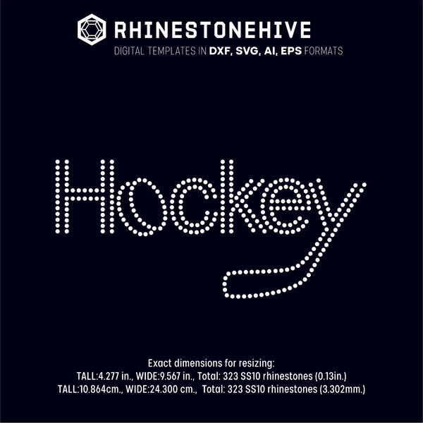 Ice Hockey stick and puck rhinestone template digital download, ai, svg, eps, png, dxf - rhinestone templates