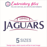 Jaguars Football Ball Embroidery in DST, EXP, HUS, JEF, PCS, PES, SEW, VIP, VP3 & XXX - rhinestone templates
