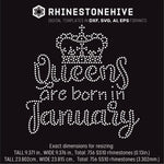 Queens are born in  January Birthday rhinestone template digital download, ai, svg, eps, png, dxf - rhinestone templates