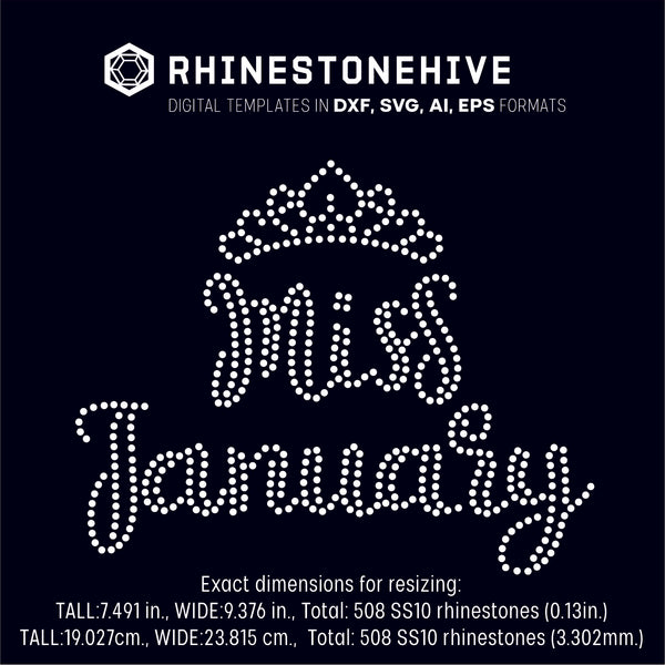 Miss January rhinestone template digital download, ai, svg, eps, png, dxf SS10