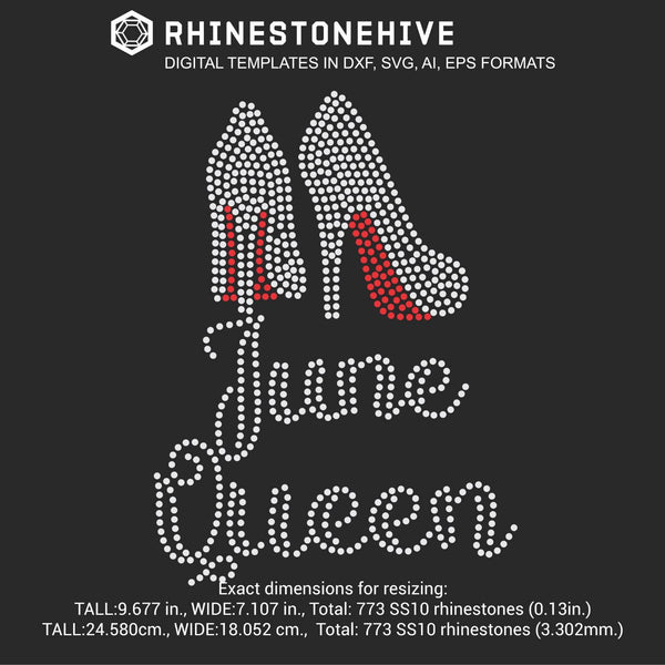 June Queen high heels Birthday rhinestone template digital download, ai, svg, eps, png, dxf - rhinestone templates