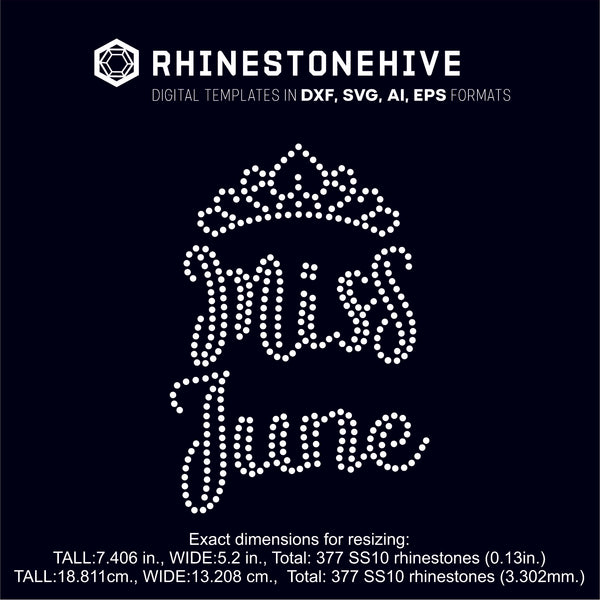 Miss June rhinestone template digital download, ai, svg, eps, png, dxf SS10