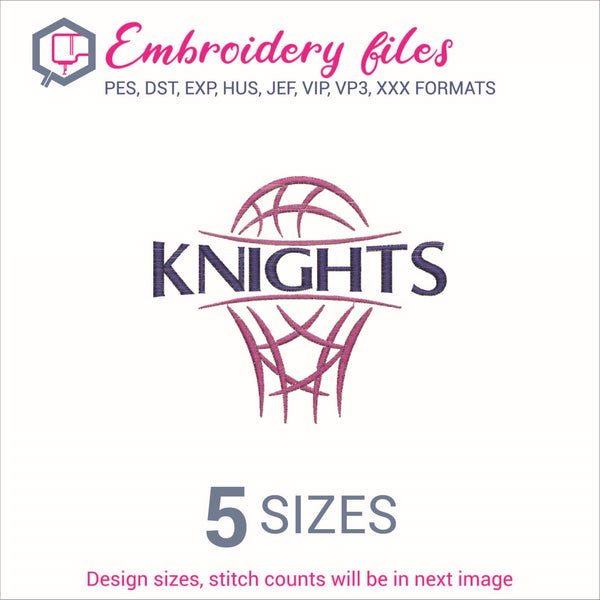 Knights team Basketball Embroidery in DST, EXP, HUS, JEF, PCS, PES, SEW, VIP, VP3 & XXX - rhinestone templates