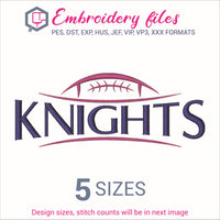 Knights Football Ball Embroidery in DST, EXP, HUS, JEF, PCS, PES, SEW, VIP, VP3 & XXX - rhinestone templates