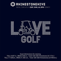 Love Golf ss10 ss8 ss6 rhinestone template digital download, svg, eps, png, dxf rhinestone template - rhinestone templates
