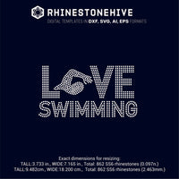 Love Swimming ss10 ss8 ss6 rhinestone template digital download, svg, eps, png, dxf rhinestone template - rhinestone templates