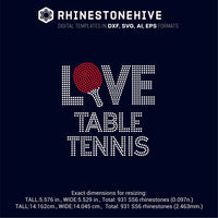Love Table Tennis ss10 ss8 ss6 rhinestone template digital download, svg, eps, png, dxf rhinestone template - rhinestone templates