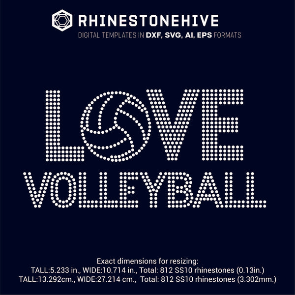 Love Volleyball ss10 ss8 ss6 rhinestone template digital download, svg, eps, png, dxf rhinestone template - rhinestone templates