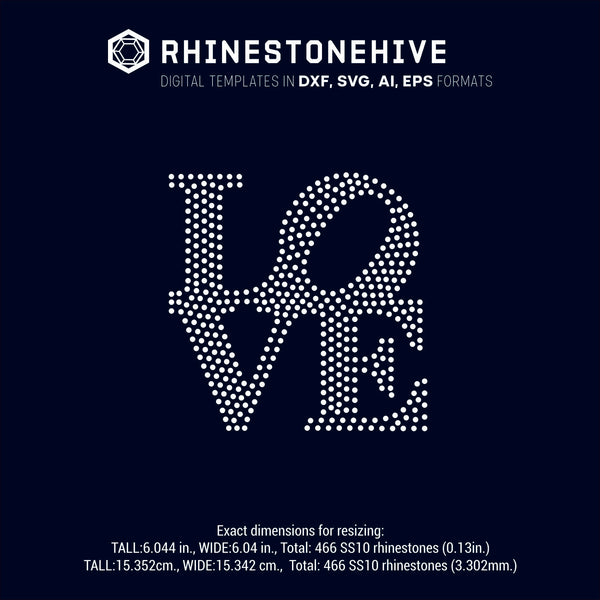Love sign rhinestone template, svg, eps, ai, png, dxf - rhinestone templates