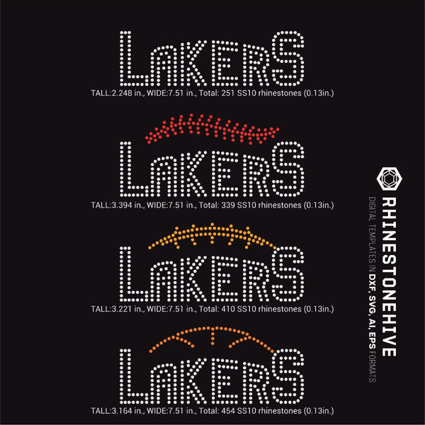 Lakers team baseball, football, basketball, sport digital rhinestone templates, ai, svg, eps, png, dxf - rhinestone templates