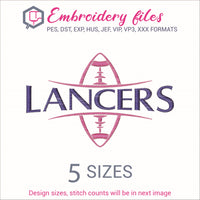 Lancers Football Ball Embroidery in DST, EXP, HUS, JEF, PCS, PES, SEW, VIP, VP3 & XXX - rhinestone templates
