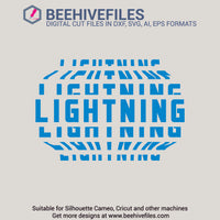 Lightning team name stacked 6 styles in svg, dxf, png, ai, eps format - rhinestone templates