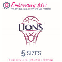 Lions team Basketball Embroidery in DST, EXP, HUS, JEF, PCS, PES, SEW, VIP, VP3 & XXX - rhinestone templates