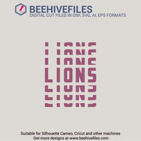 Lions team name stacked 6 styles in svg, dxf, png, ai, eps format - rhinestone templates