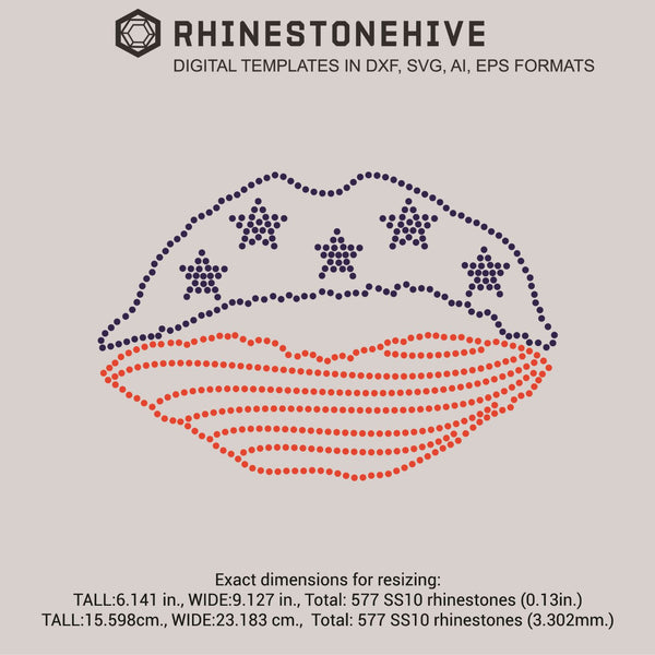 Lips USA flag rhinestone template digital download, ai, svg, eps, png, dxf - rhinestone templates