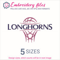 Longhorns team Basketball Embroidery in DST, EXP, HUS, JEF, PCS, PES, SEW, VIP, VP3 & XXX - rhinestone templates