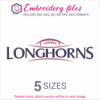 Longhorns Football Ball Embroidery in DST, EXP, HUS, JEF, PCS, PES, SEW, VIP, VP3 & XXX - rhinestone templates