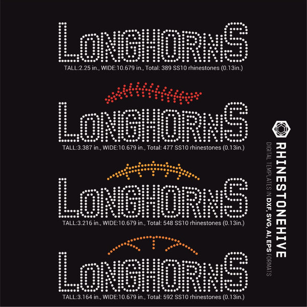 Longhorns team baseball, football, basketball, sport digital rhinestone templates, ai, svg, eps, png, dxf - rhinestone templates