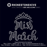 Miss March rhinestone template digital download, ai, svg, eps, png, dxf - rhinestone templates