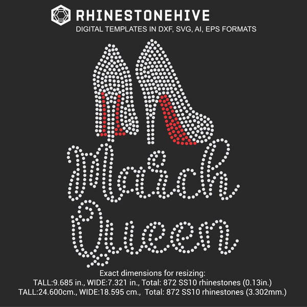 March Queen high heels Birthday rhinestone template digital download, ai, svg, eps, png, dxf - rhinestone templates