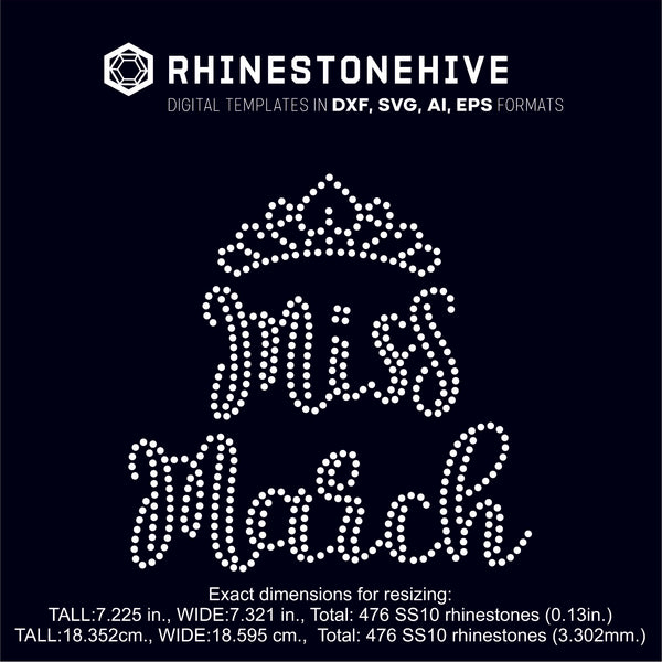 Miss March rhinestone template digital download, ai, svg, eps, png, dxf SS10