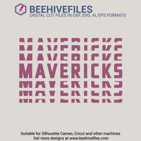 Mavericks team name stacked 6 styles in svg, dxf, png, ai, eps format - rhinestone templates