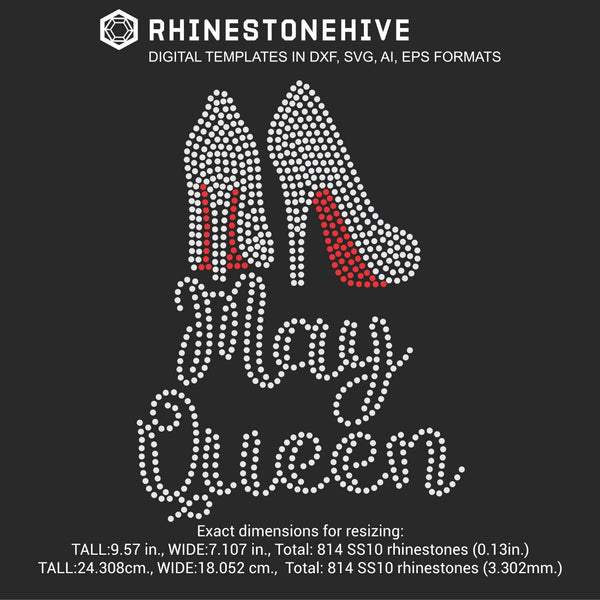 May Queen high heels Birthday rhinestone template digital download, ai, svg, eps, png, dxf - rhinestone templates