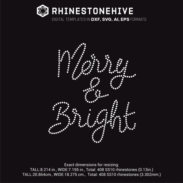 Merry and Bright rhinestone template digital download, ai, svg, eps, png, dxf - rhinestone templates