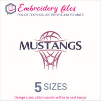 Mustangs team Basketball Embroidery in DST, EXP, HUS, JEF, PCS, PES, SEW, VIP, VP3 & XXX - rhinestone templates